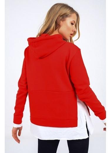 Emjey Kapüşonlu Bel Garnili Sweatshirt Kırmızı